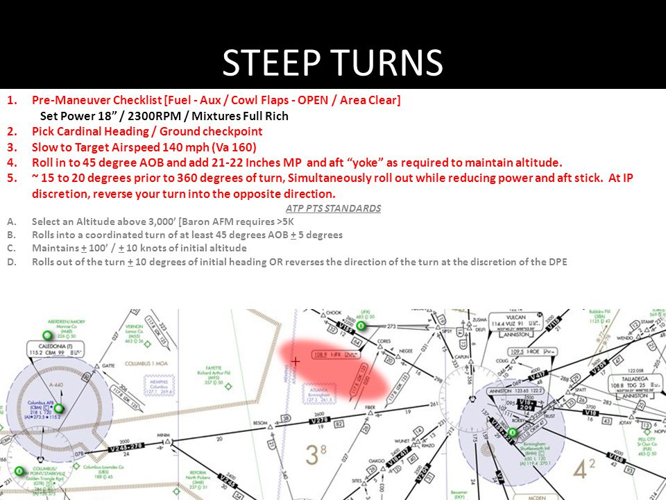 STEEP TURNS Pre-Maneuver Checklist [Fuel - Aux / Cowl Flaps - OPEN / Area Clear] Set Power 18 / 2300RPM / Mixtures Full Rich.